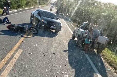 Na manhã desta segunda-feira motociclista fica ferido em acidente na BR-361, em Santa Terezinha